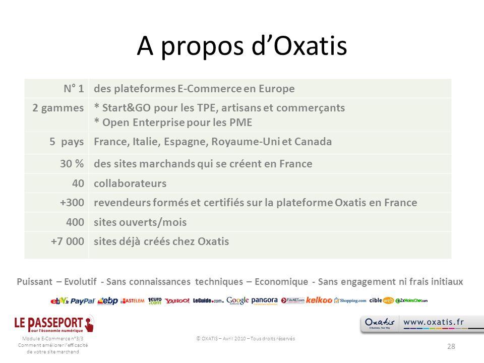 © OXATIS – Avril 2010 – Tous droits réservés