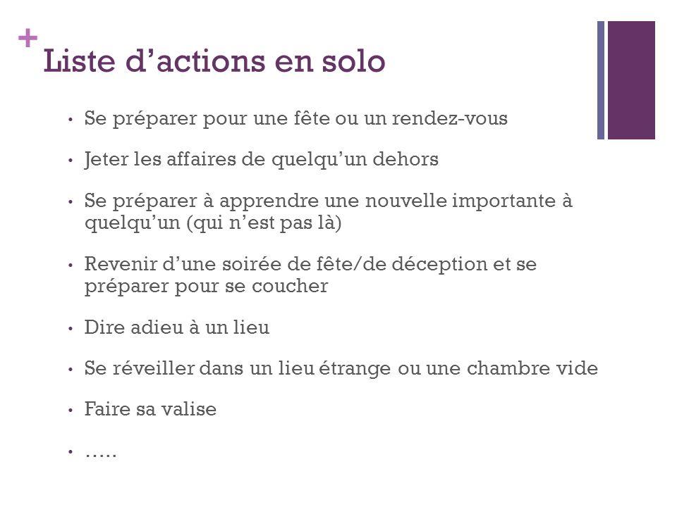 Liste d'actions en solo