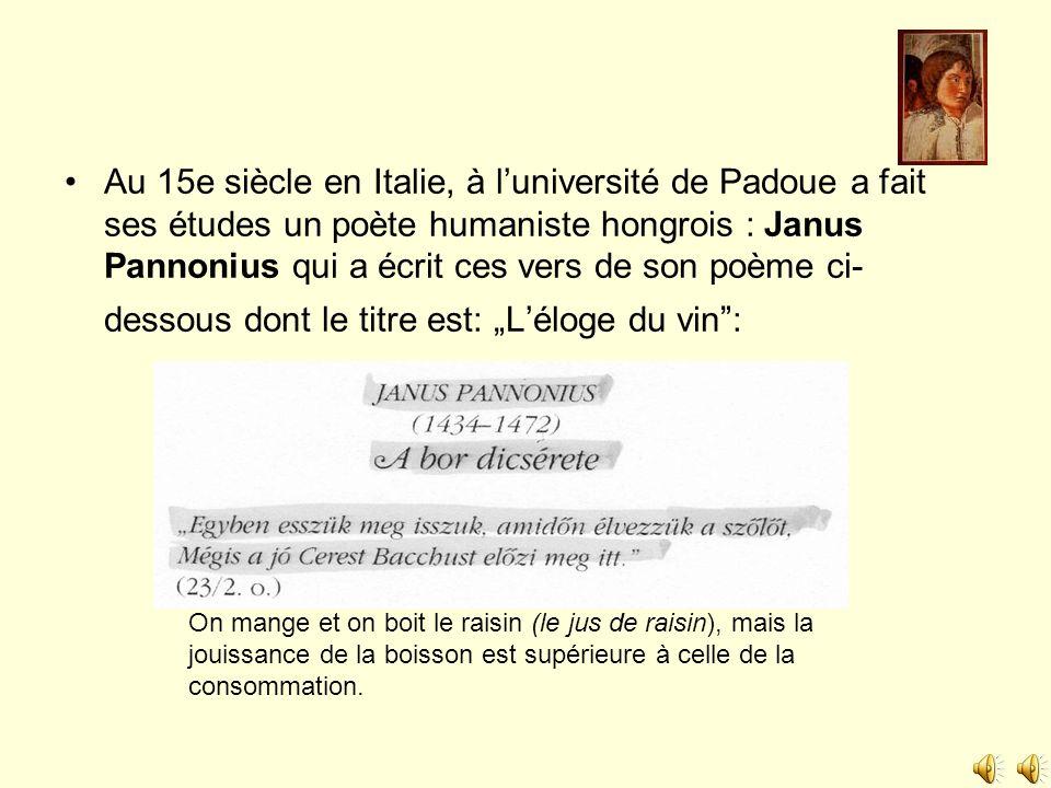 """Au 15e siècle en Italie, à l'université de Padoue a fait ses études un poète humaniste hongrois : Janus Pannonius qui a écrit ces vers de son poème ci-dessous dont le titre est: """"L'éloge du vin :"""