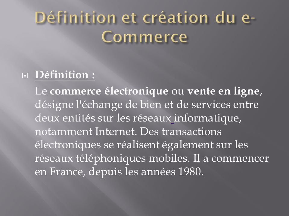 Le decollage de l e commerce en france ppt video online for Definition de l