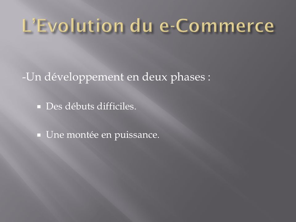 L'Evolution du e-Commerce