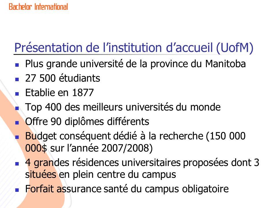 Présentation de l'institution d'accueil (UofM)