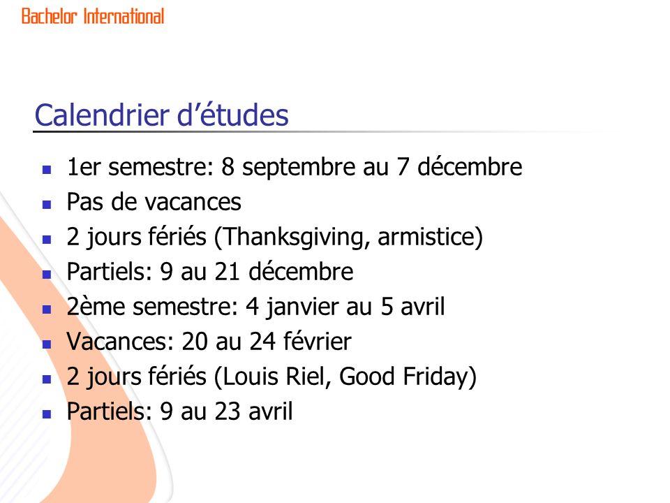 Calendrier d'études 1er semestre: 8 septembre au 7 décembre