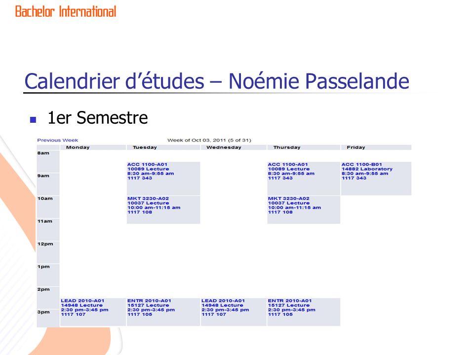 Calendrier d'études – Noémie Passelande