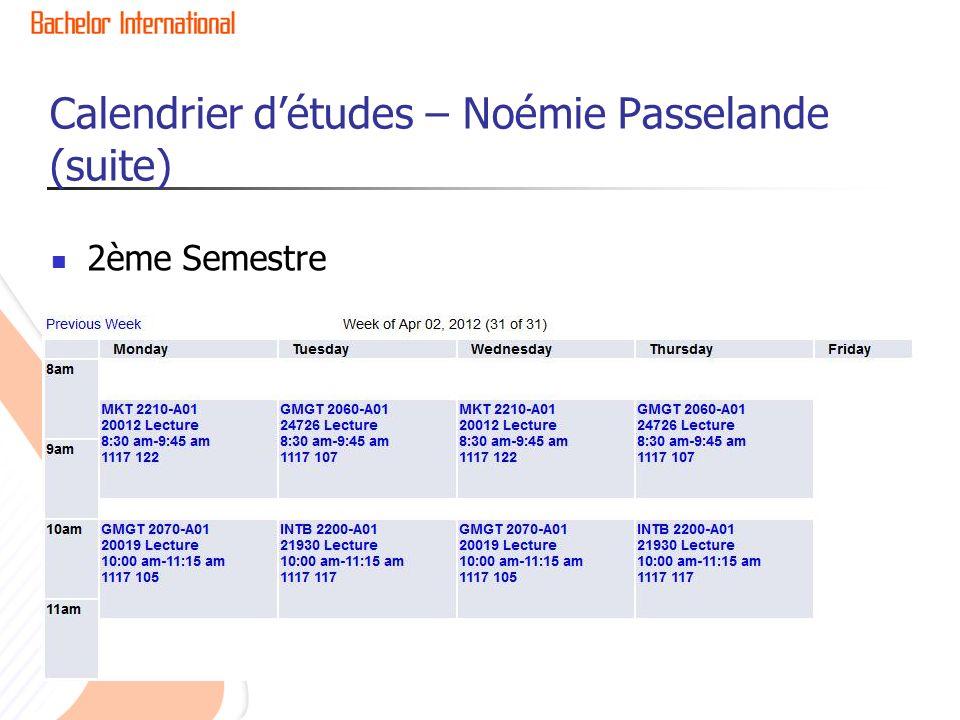 Calendrier d'études – Noémie Passelande (suite)