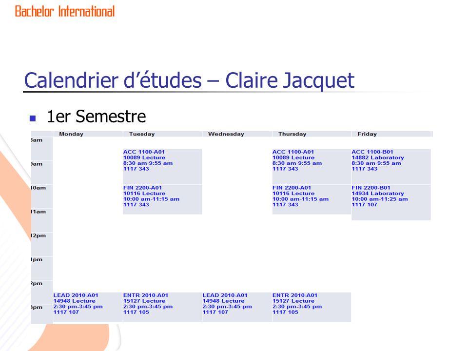 Calendrier d'études – Claire Jacquet