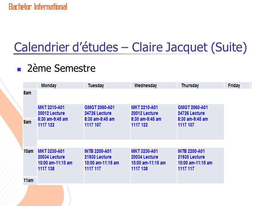 Calendrier d'études – Claire Jacquet (Suite)