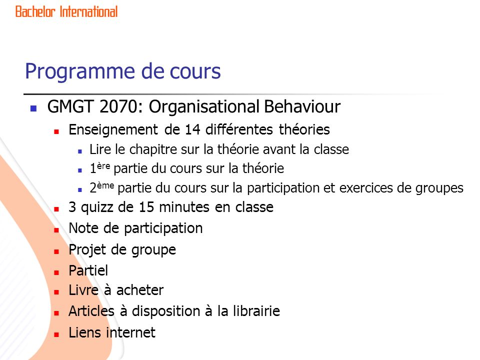 Programme de cours GMGT 2070: Organisational Behaviour