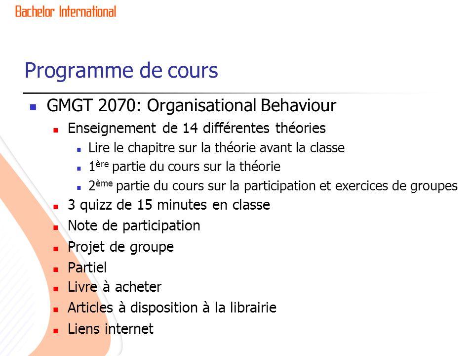 Programme de cours GMGT 2070: Organisational Behaviour