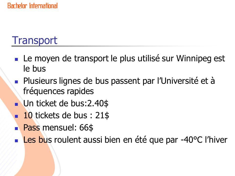 Transport Le moyen de transport le plus utilisé sur Winnipeg est le bus. Plusieurs lignes de bus passent par l'Université et à fréquences rapides.