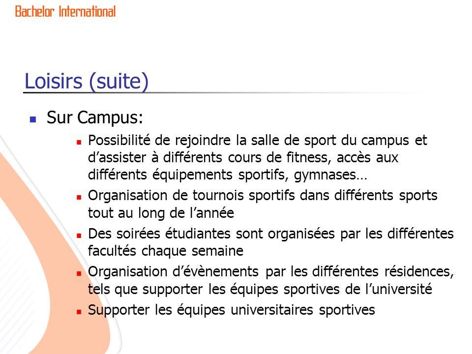Loisirs (suite) Sur Campus: