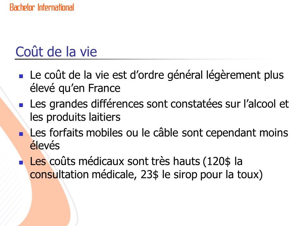 Coût de la vie Le coût de la vie est d'ordre général légèrement plus élevé qu'en France.