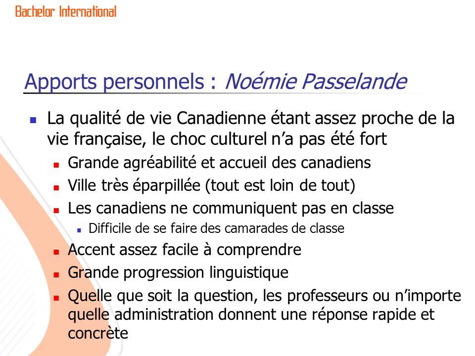 Apports personnels : Noémie Passelande