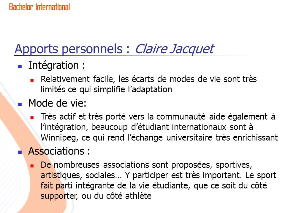 Apports personnels : Claire Jacquet