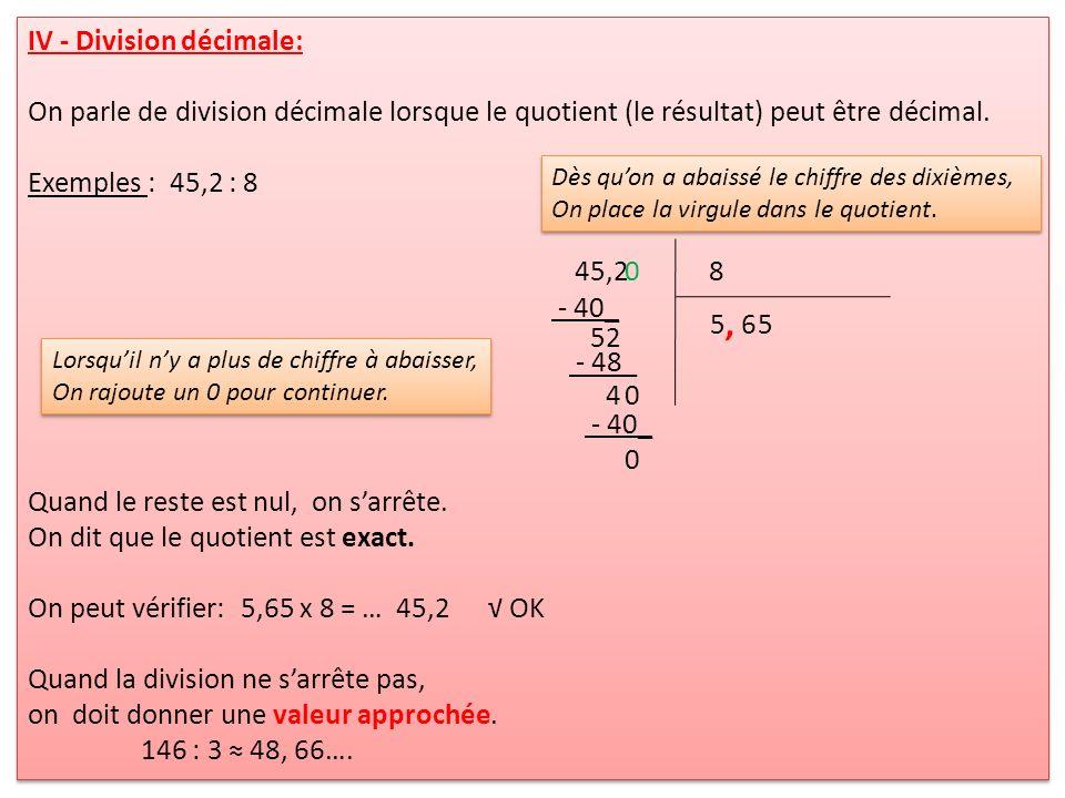 , IV - Division décimale: