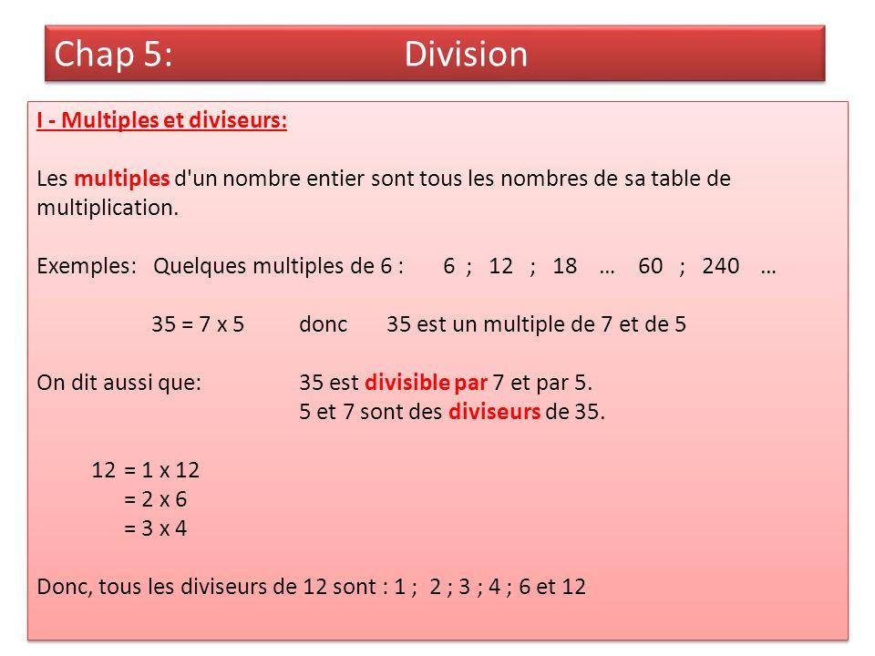 Chap 5: Division I - Multiples et diviseurs: