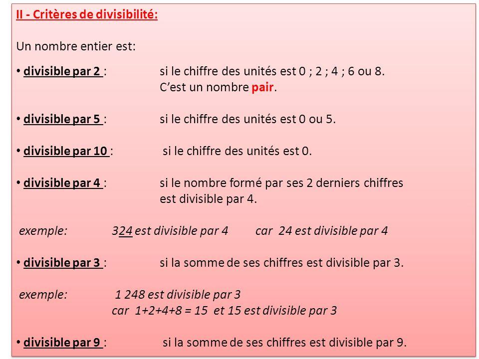 II - Critères de divisibilité: