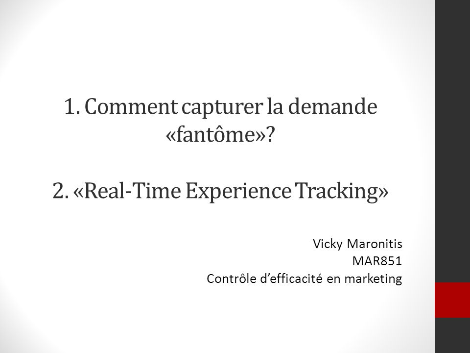 Vicky Maronitis MAR851 Contrôle d'efficacité en marketing