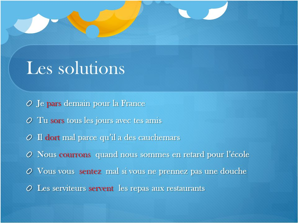 Les solutions Je pars demain pour la France