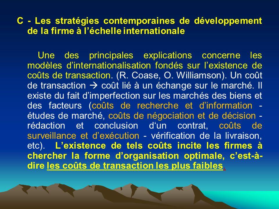 C - Les stratégies contemporaines de développement de la firme à l'échelle internationale