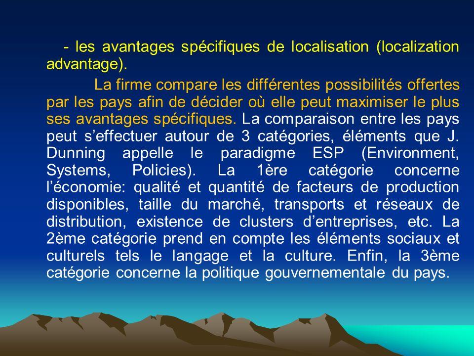 - les avantages spécifiques de localisation (localization advantage).