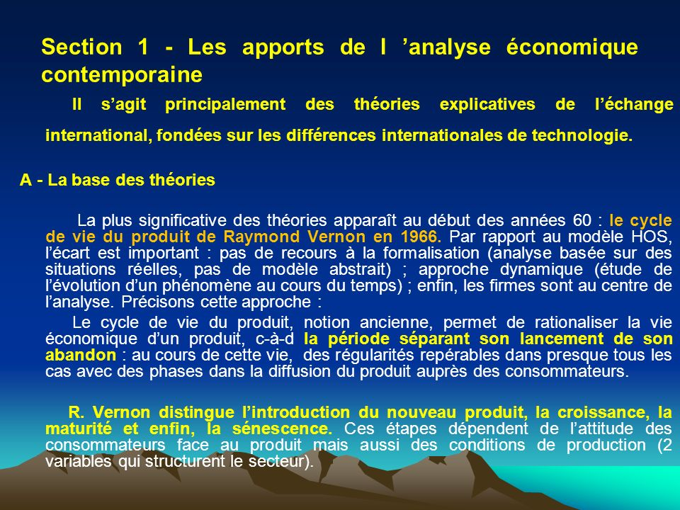 Section 1 - Les apports de l 'analyse économique contemporaine