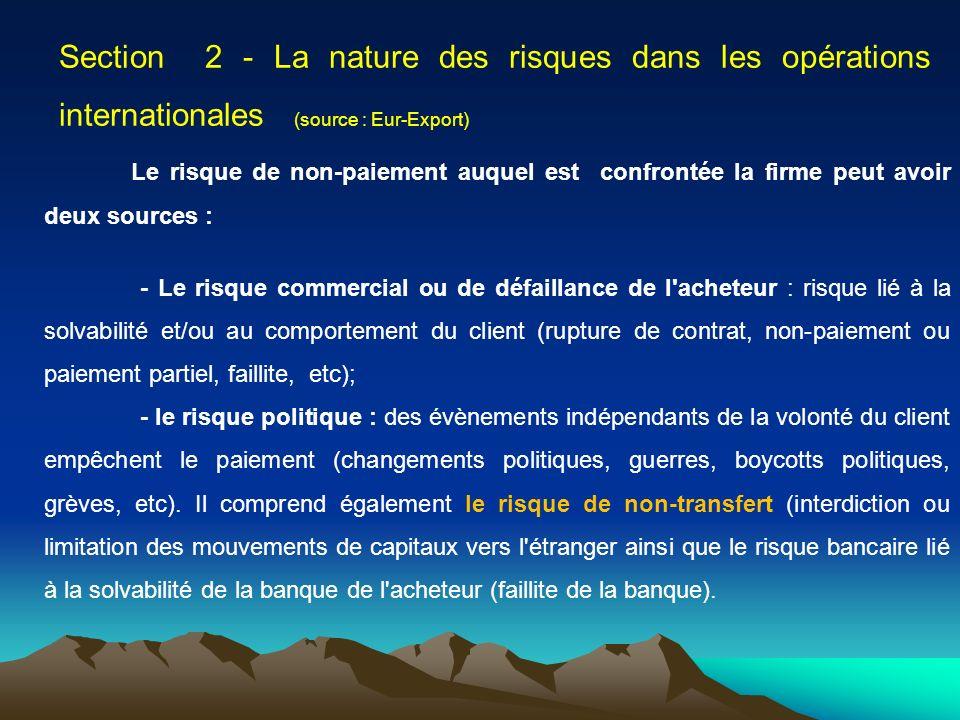 Section 2 - La nature des risques dans les opérations internationales (source : Eur-Export)