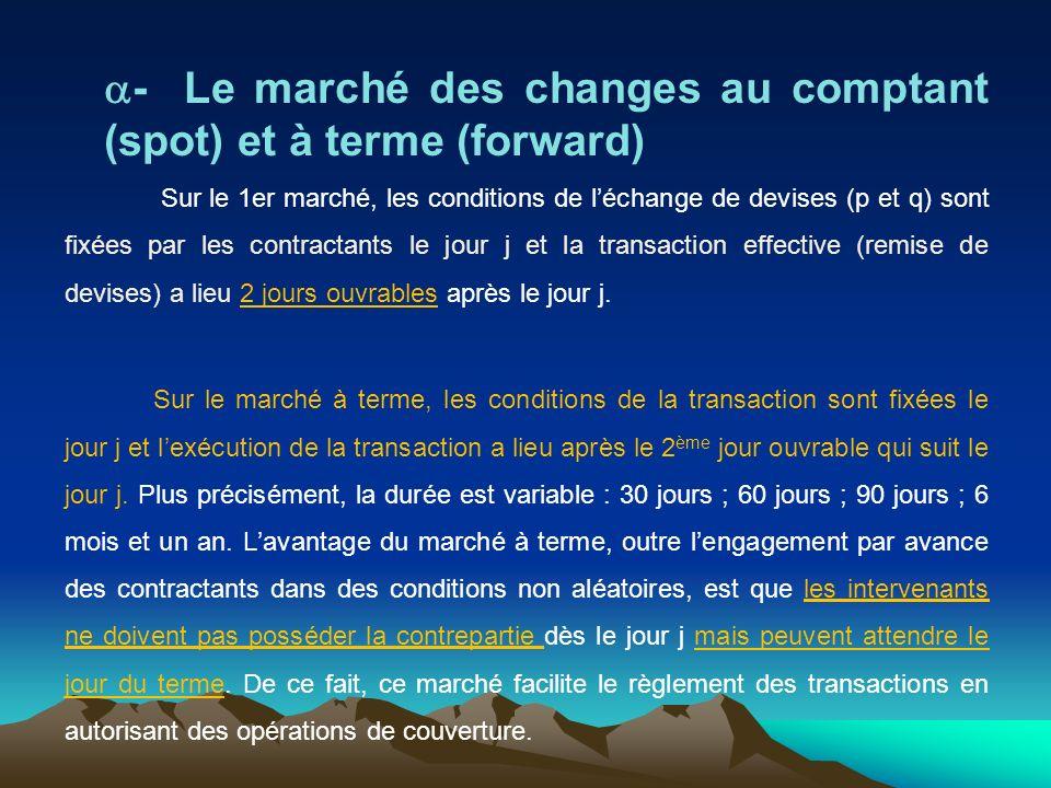 a- Le marché des changes au comptant (spot) et à terme (forward)