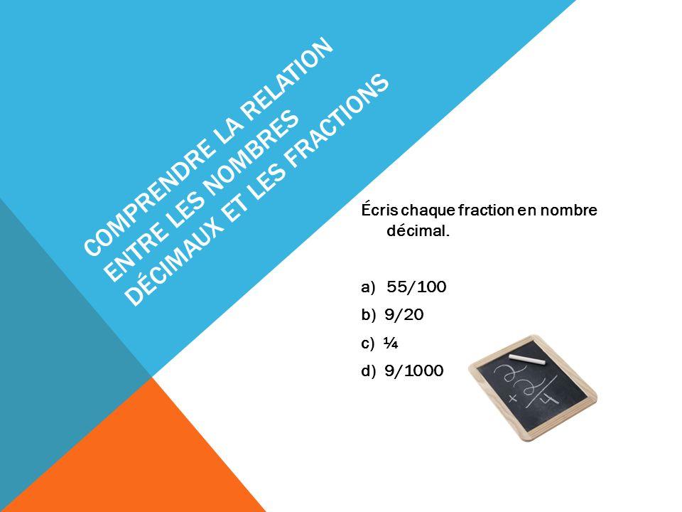 Comprendre la relation entre les nombres décimaux et les fractions