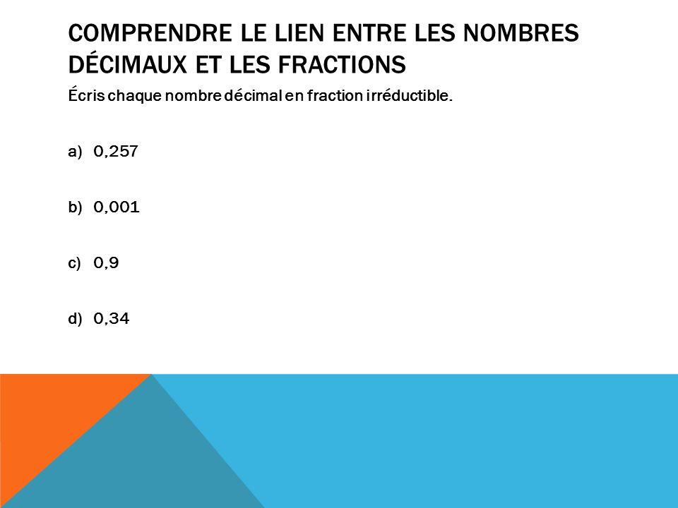 Comprendre le lien entre les nombres décimaux et les fractions