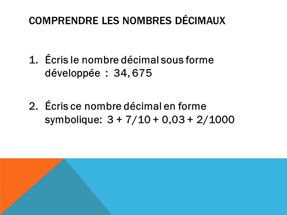 Comprendre les nombres décimaux