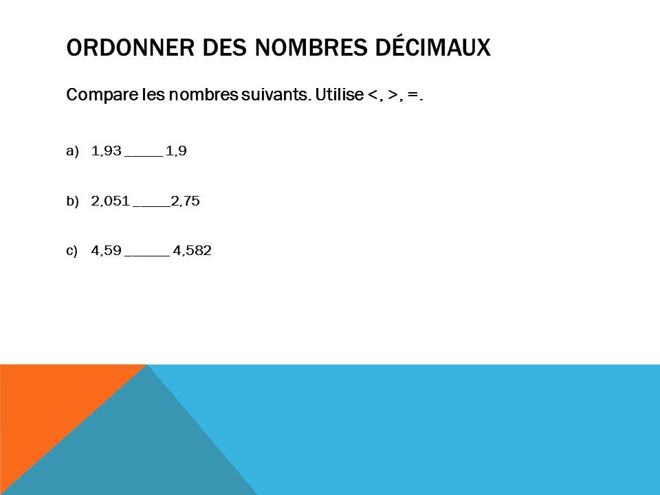 Ordonner des nombres décimaux