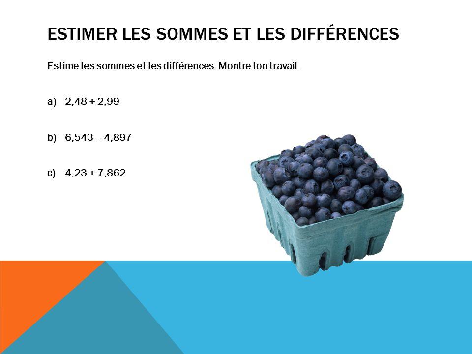 Estimer les sommes et les différences