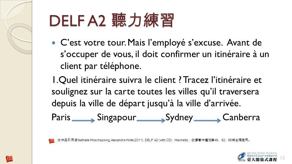 DELF A2 聽力練習 C'est votre tour. Mais l'employé s'excuse. Avant de s'occuper de vous, il doit confirmer un itinéraire à un client par téléphone.