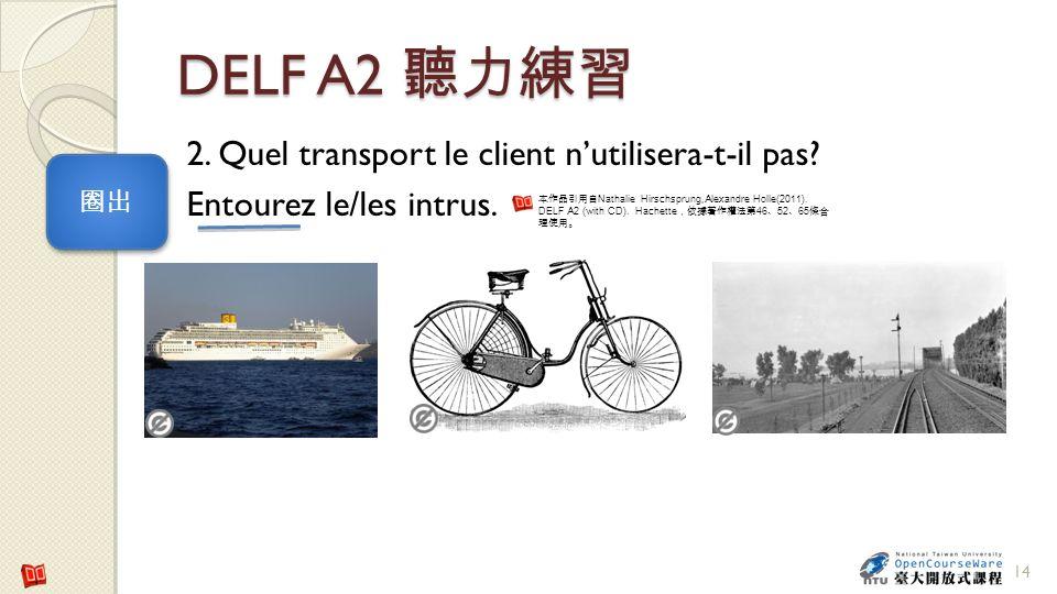 DELF A2 聽力練習 2. Quel transport le client n'utilisera-t-il pas Entourez le/les intrus. 圈出.