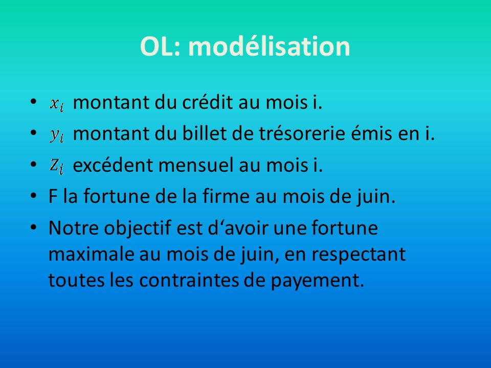 OL: modélisation montant du crédit au mois i.