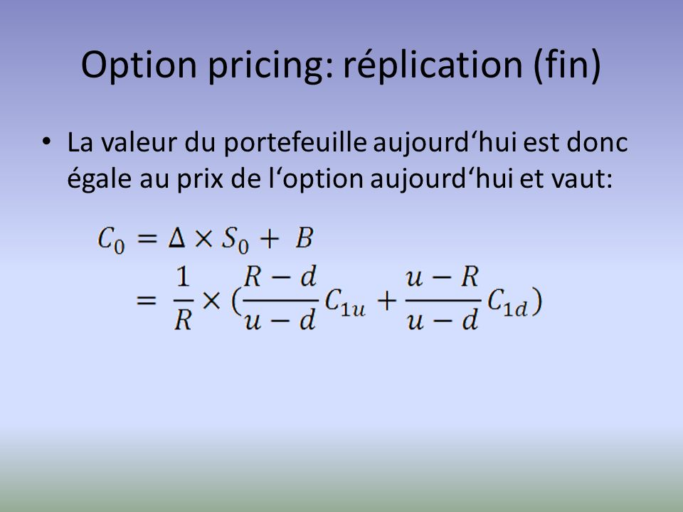 Option pricing: réplication (fin)
