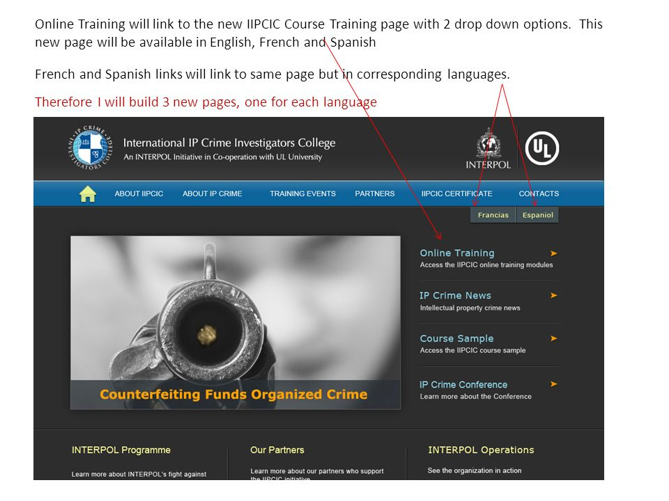 Online Training will link to the new IIPCIC Course Training page with 2 drop down options. This new page will be available in English, French and Spanish
