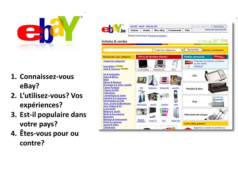 Connaissez-vous eBay. L'utilisez-vous. Vos expériences.