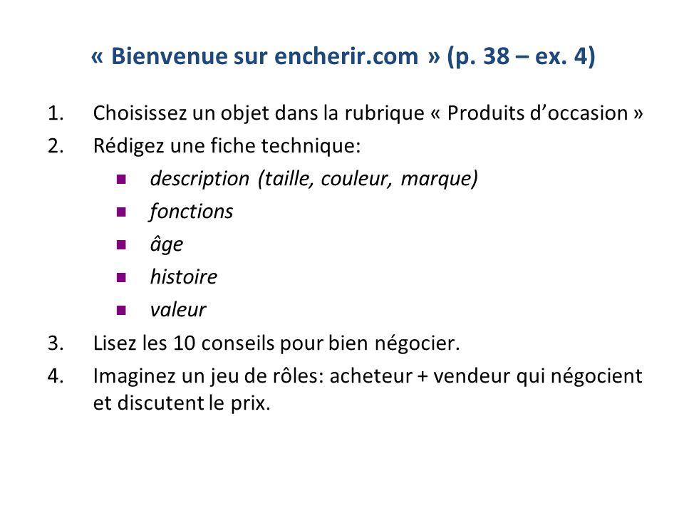 « Bienvenue sur encherir.com » (p. 38 – ex. 4)