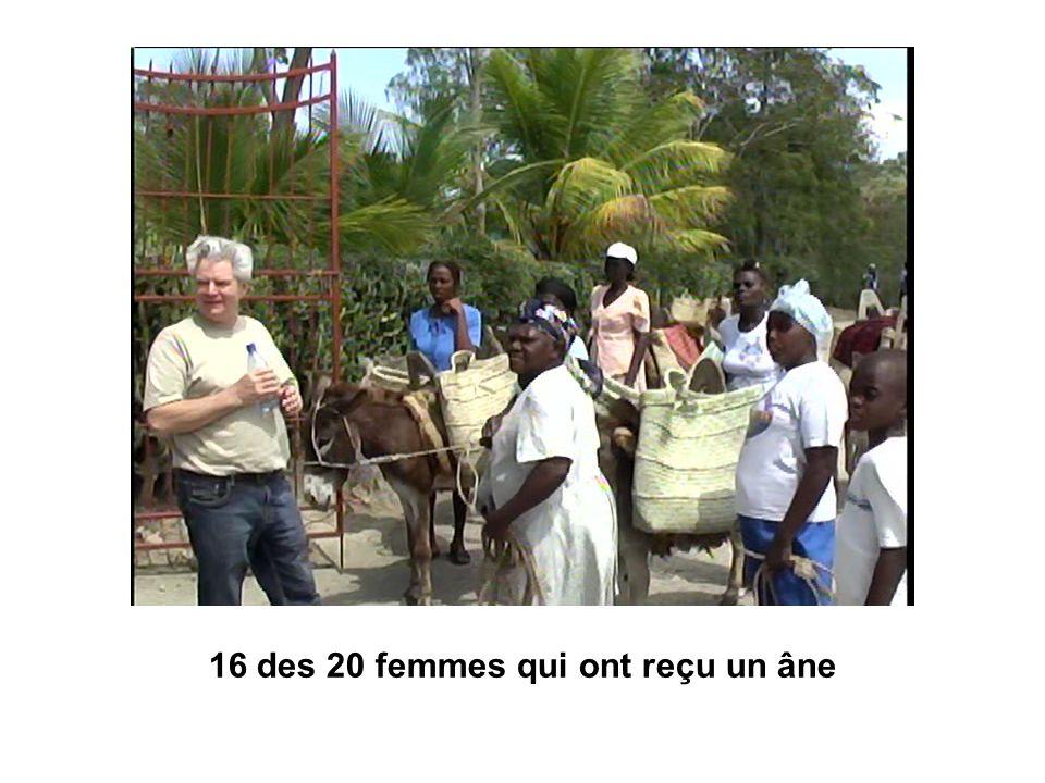 16 des 20 femmes qui ont reçu un âne