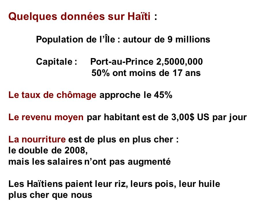 Quelques données sur Haïti :