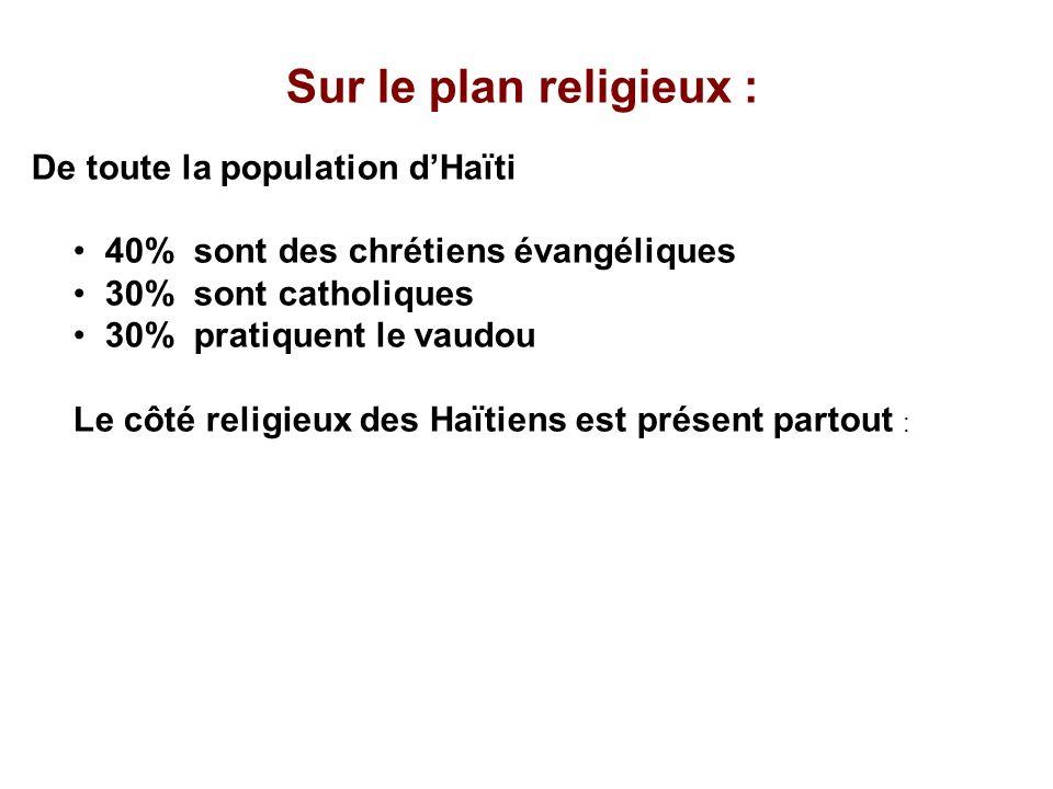 Sur le plan religieux : De toute la population d'Haïti