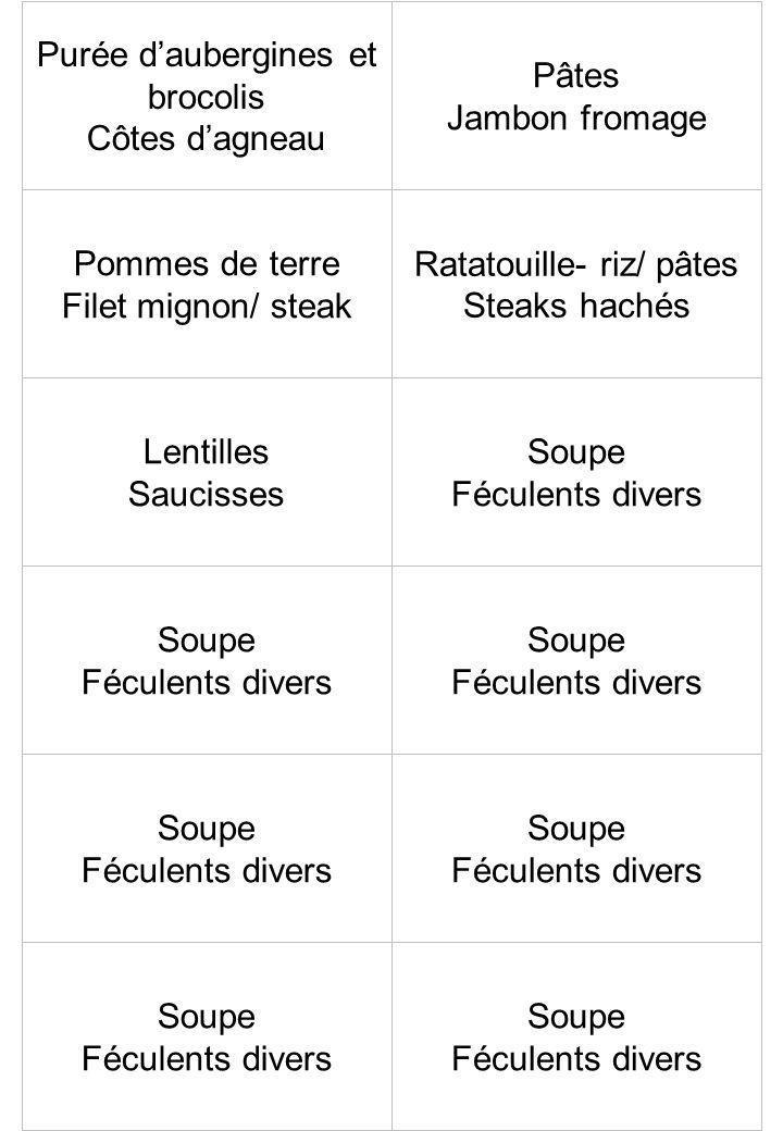 Purée d'aubergines et brocolis Côtes d'agneau Pâtes Jambon fromage