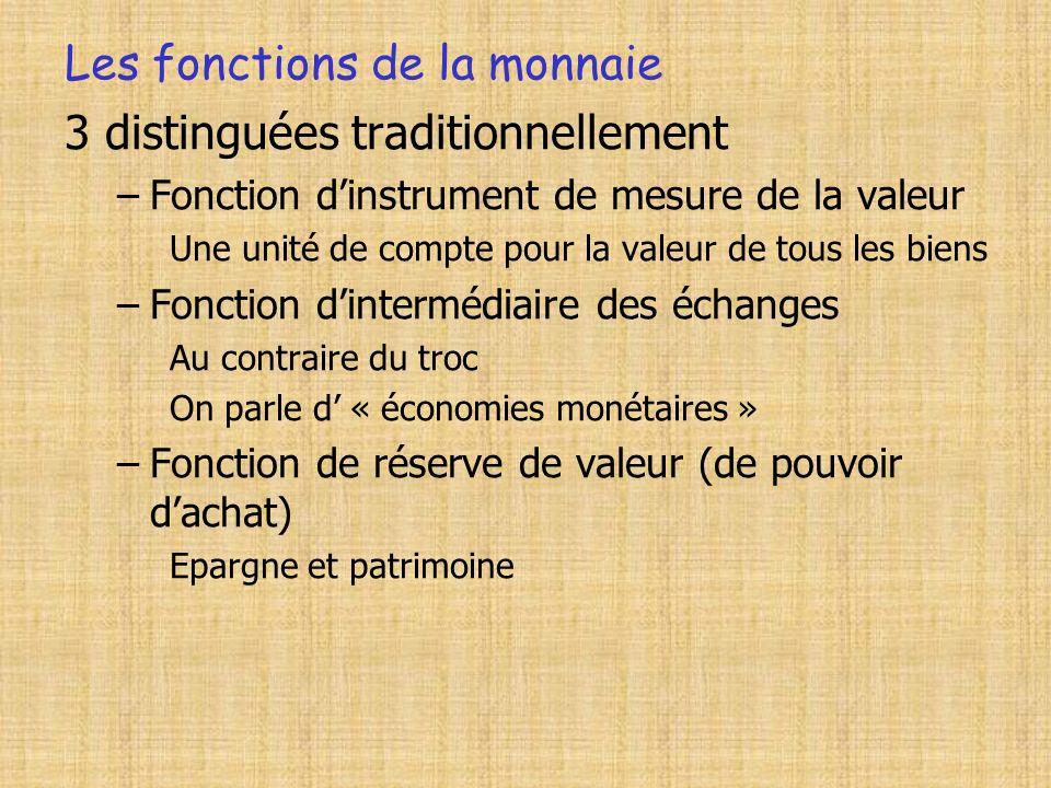 Les fonctions de la monnaie 3 distinguées traditionnellement