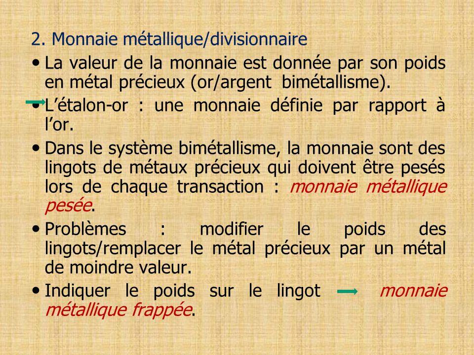 2. Monnaie métallique/divisionnaire