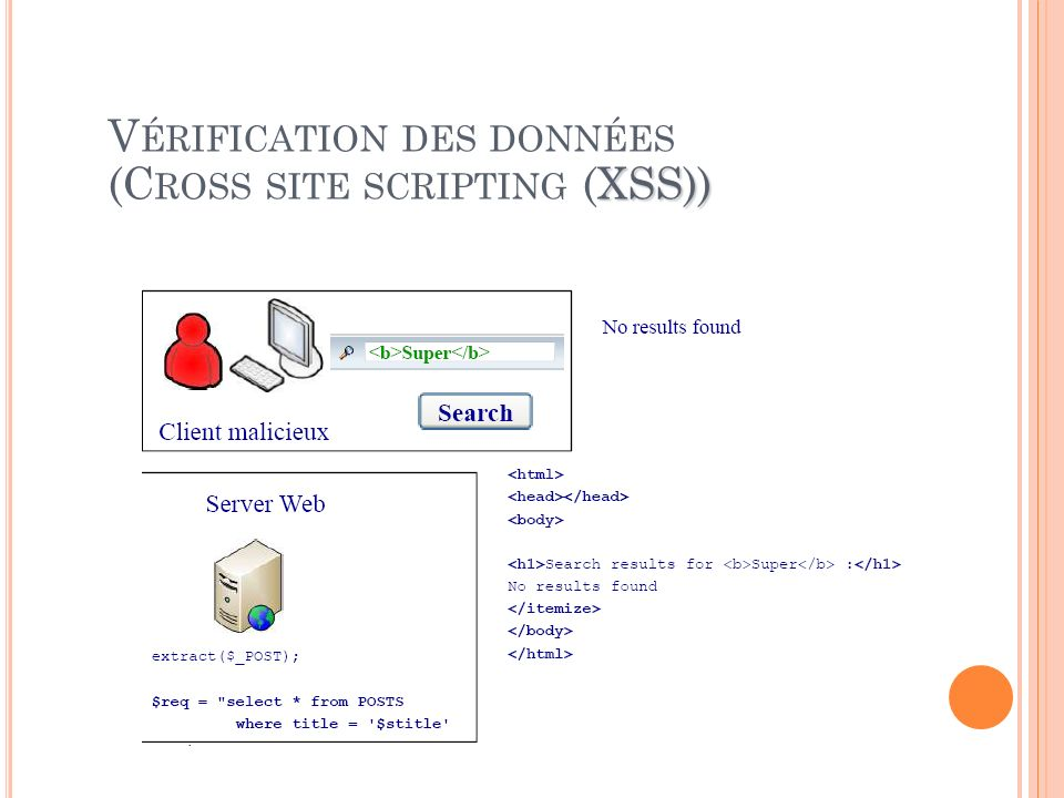 Vérification des données (Cross site scripting (XSS))
