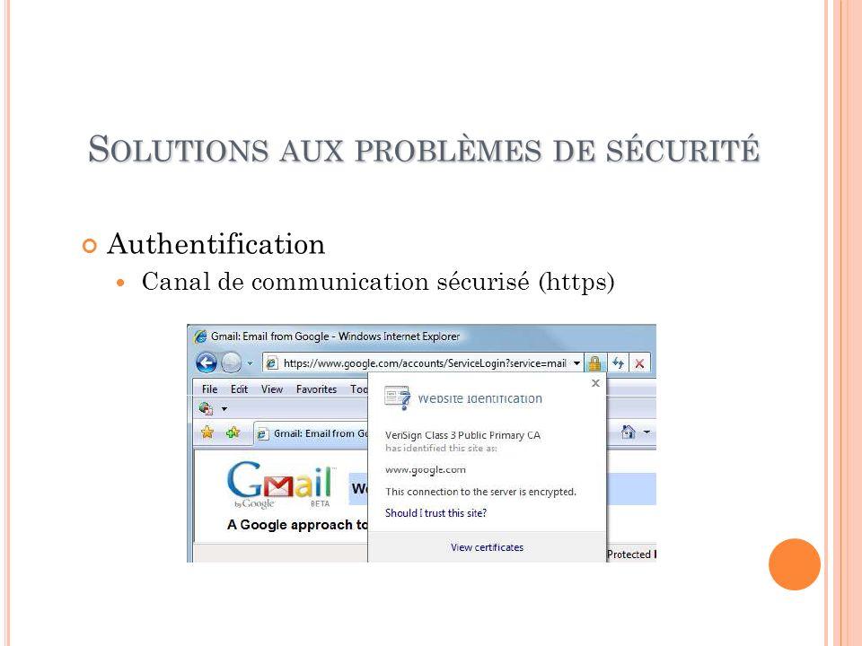 Solutions aux problèmes de sécurité