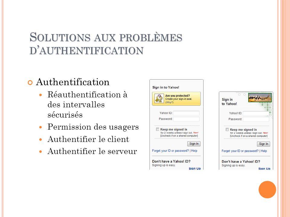 Solutions aux problèmes d'authentification