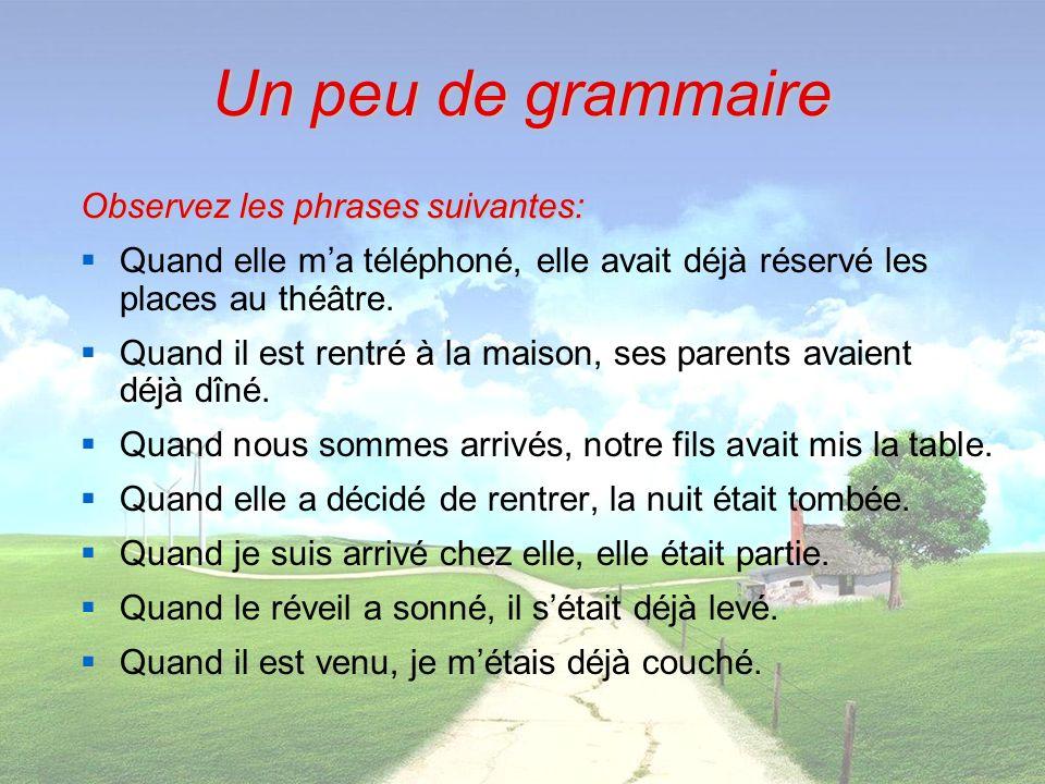 Un peu de grammaire Observez les phrases suivantes: